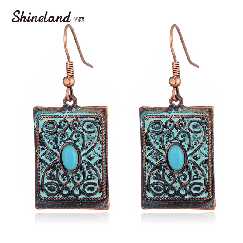 Shineland New Ancient Bronze Rectangle Carved Drop Dangle Earrings Bohemian Ethnic Retro Charm Bijoux For Women Holiday Gift pair of charming rectangle drop earrings for women