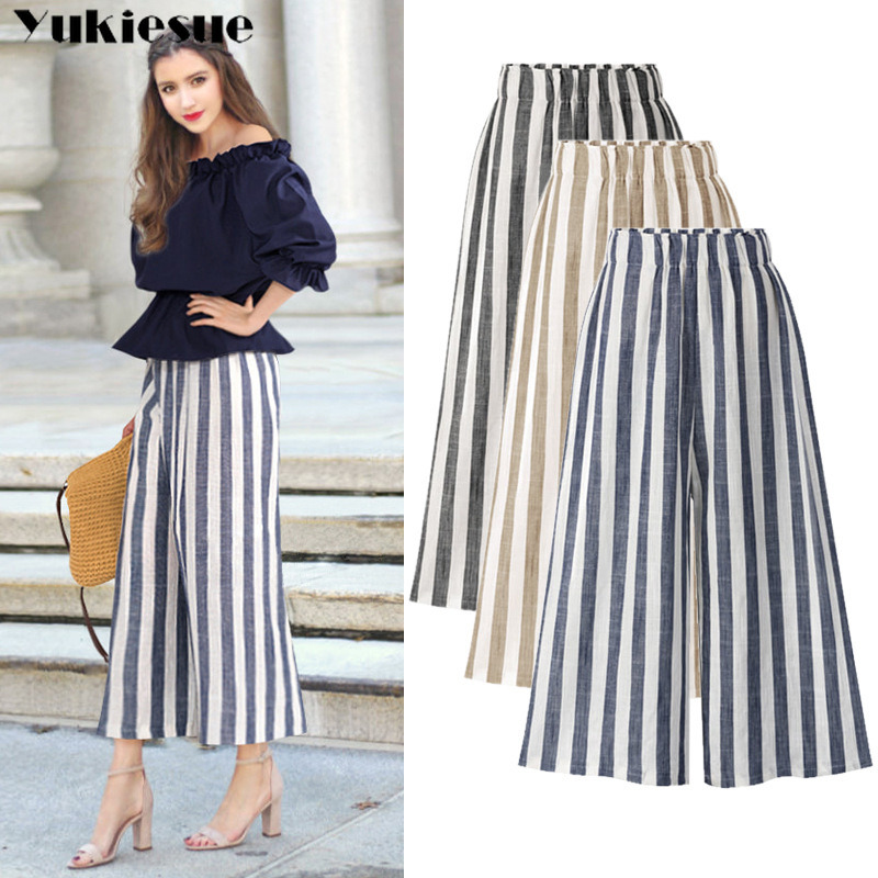 summer cotton linen striped women's   pants     capris   high waist wide leg   pants   for women trousers woman   pants   female Plus size 5xl