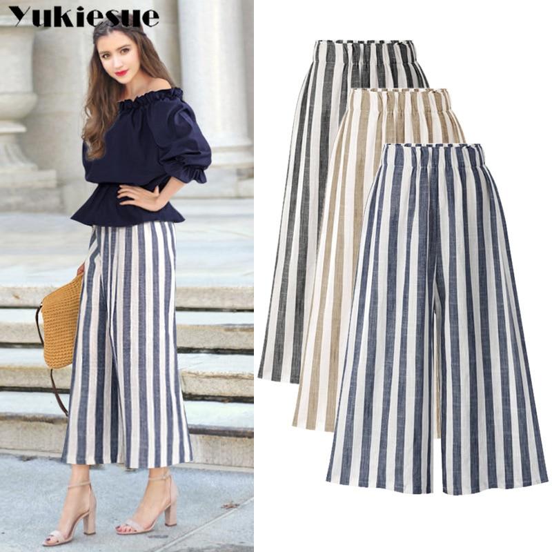 summer cotton linen striped women's   pants     capris   high waist wide leg   pants   for women trousers woman   pants   female Plus size 5xl