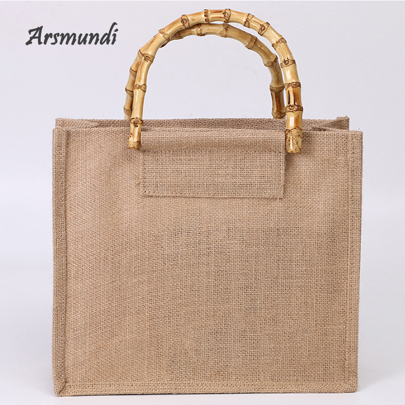 Arsmundi High-Quality Women Men Handbags Cotton Foldable Reusable Shopping Bag Rubbing Cart Eco Shoulder Organization Bag