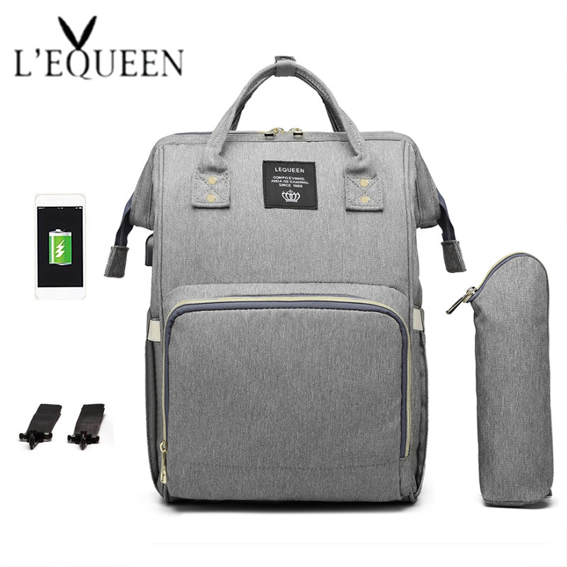 LEQUEEN USB Diaper Bags Large Nappy Bag Fashion Travel Backpack for Mom High Quality Waterproof Mummy Bags for Mom Baby Care