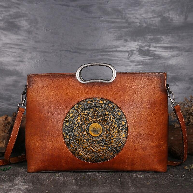 High Quality Natural Skin Women Shoulder Tote Bags Retro Handbag Totem Pattern Genuine Embossed Leather Messenger