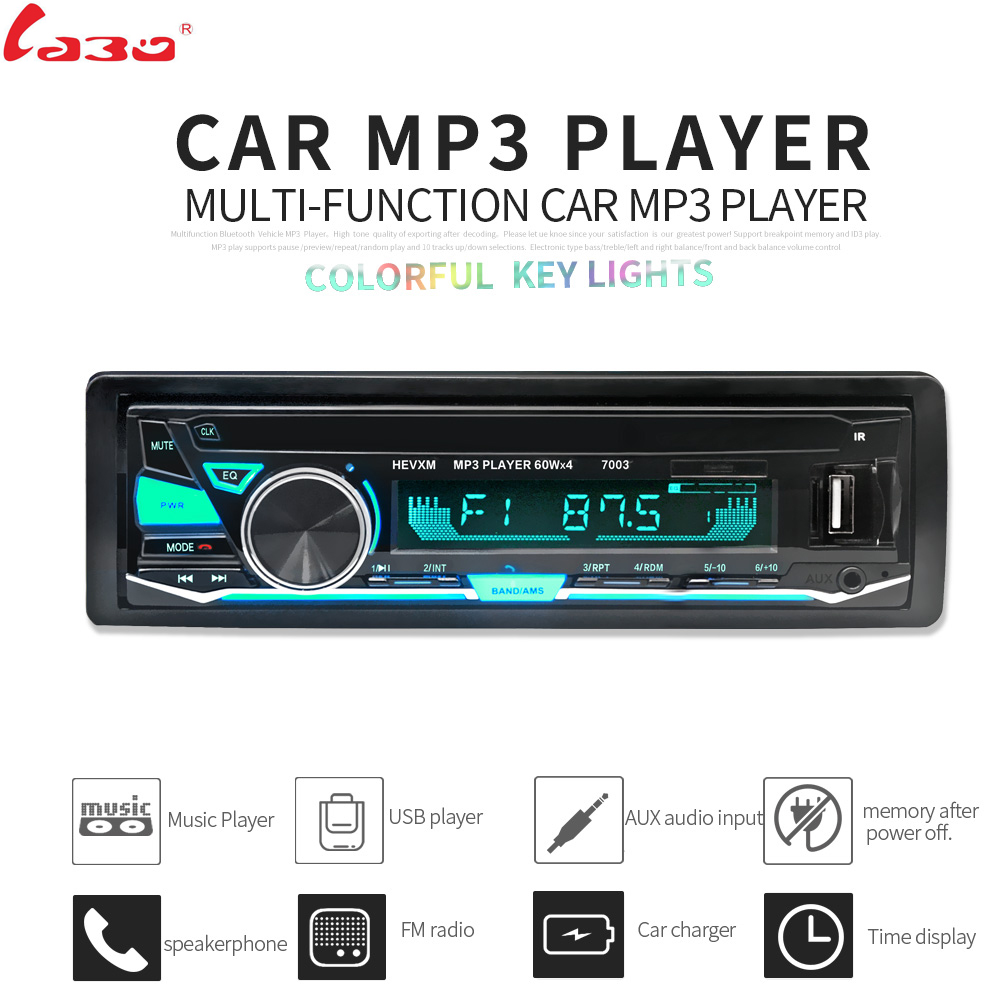 LaBo 12V Car Radio Bluetooth 1 din car stereo Player Phone AUX-IN MP3 FM SD USB radio remote control For phone Car Audio