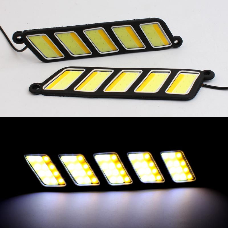 12v Daytime Running Light Waterproof COB LED DRL Flexible Day Light Driving Cars Running Lights White DRL Yellow Turning Light flexible white daytime running light turn lights led cob day run lights drl with amber turning steering signal lamps