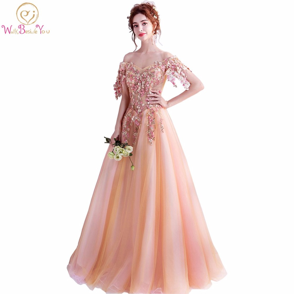 Walk Beside You Orange   Prom     Dresses   Lace Applique Pearl Crystal Evening Gown Long Floor Length Lace Up Off Shoulder Short Sleeve