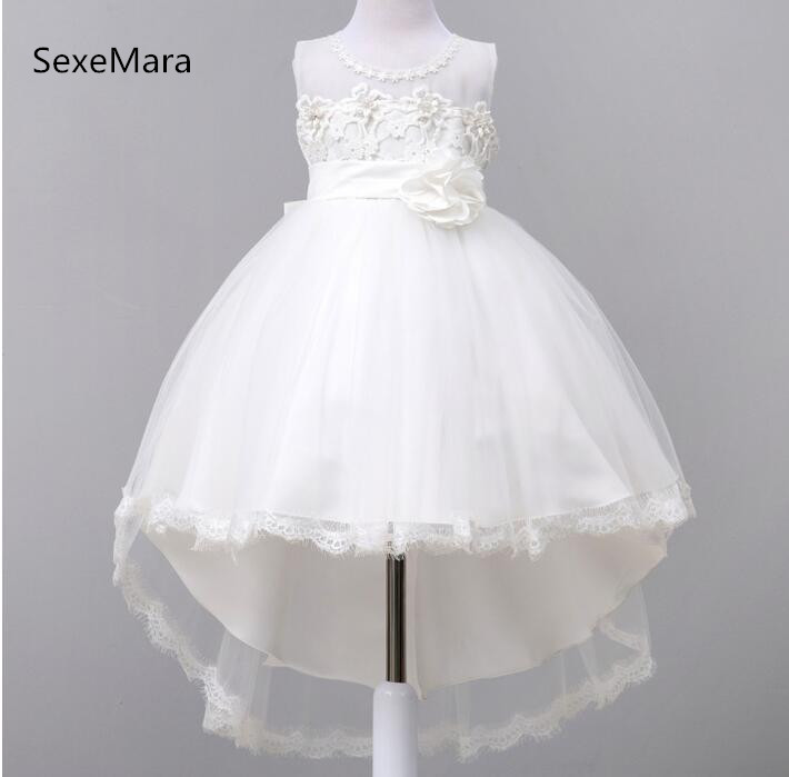 New O-Neck Baby Girls Birthday Dress with Big Bow Lace Applique Kids Princess Hi Lo Flower Girls Dress Pageant Party Gown girls dress summer 2017 new my kids dress big bow and embroidery animal flower girls princess children dress baby girls vestido