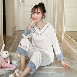 2019 весна осень 100% хлопок v-образный вырез пижамы наборы для женщин с длинным рукавом пижама для девочек одежда для сна Домашняя одежда Pijama