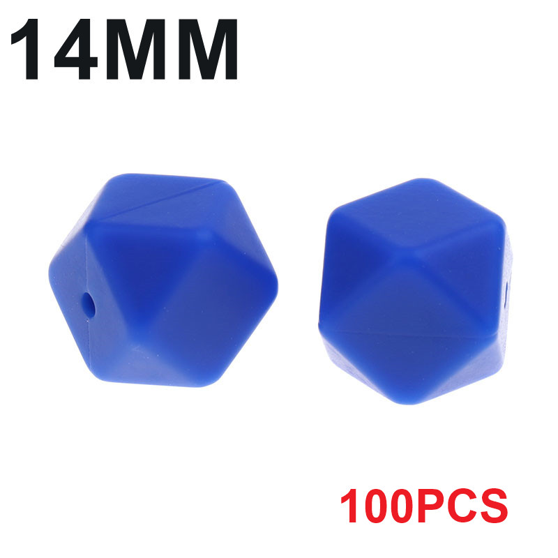Fkisbox 100PCS Hexagon 14mm Baby Teether Silicone Beads Diy Silicon Teething Necklace Loose Bead Bpa Free Beads For Diy Baby