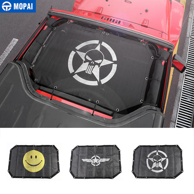 MOPAI 2 Door Car Top Sunshade Cover Roof Anti UV Sun Shade Protect Mesh Net Accessories For Jeep Wrangler 2007 2017 Car Styling
