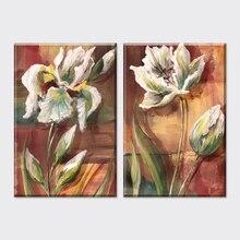 Cuadros artísticos de pared para la sala de estar, cuadros artísticos de lienzo, decoración del hogar Vintage, flores abstractas, estilo americano, 2015, 2 piezas, baratos