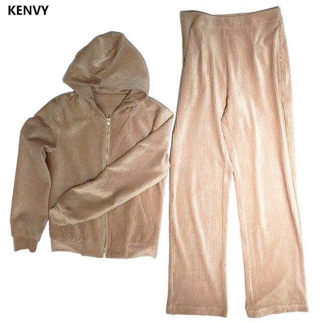 Kenvy бренд Модные женские туфли высокого класса люкс отдых Sexy Stretch полоской бархата комплект костюм