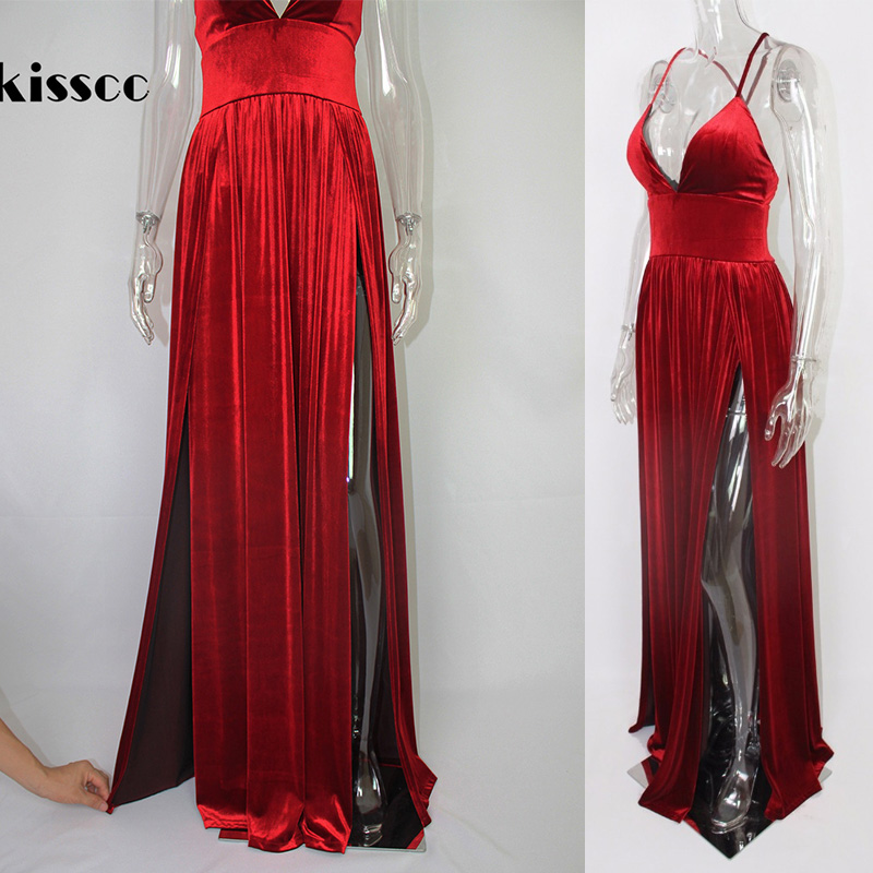 2018 Sexy High Split Sides Shiny Red Velvet Maxi Dress Cross Straps  Backless Party Dresses Draped Deep V Neck Floor Length Dress-in Dresses  from Women s ... 12a82083a