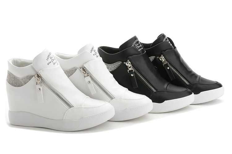 Fujin ซิปรองเท้าผู้หญิง Wedges ซ่อนรองเท้าส้นสูง Rhinestone หนังรองเท้าบูทแพลตฟอร์มรองเท้าข้อเท้าสูงรองเท้าคู่ซิปสุภาพสตรีรองเท้า