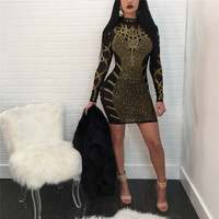 Rhinestone Bodycon Mini Dress Women Winter Long Sleeve Elegant Embellished Celebrity Evening Party Dress NightClub Dresses