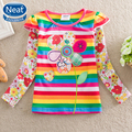 5Pcs/lot Neat 100% Cotton 2016 New Long Sleeved t-shirts Beautifully flowers embroidered baby girl clothes t shirt girlsF3111