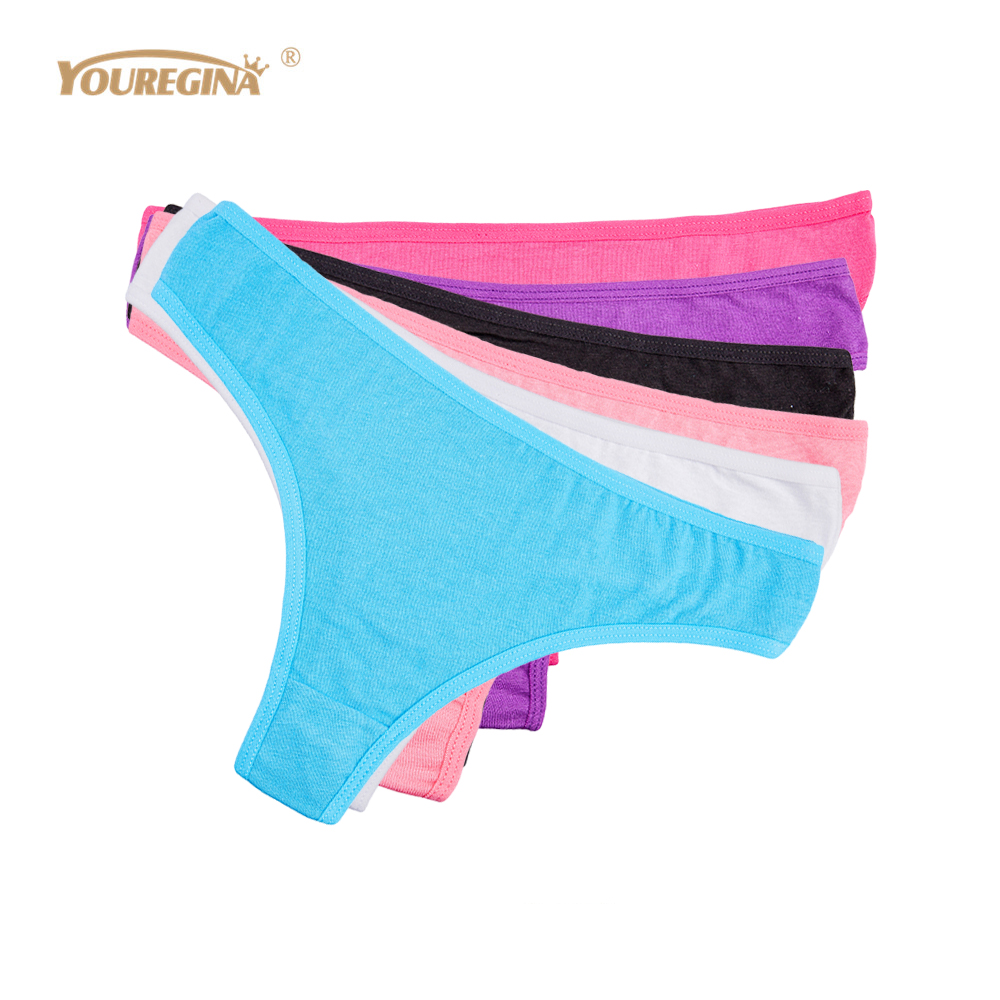 Buy YOUREGINA Women Sexy Thongs Panties Cotton G-String Cute Print Briefs T Back Underwear Lingerie Ladies 6pcs/lot