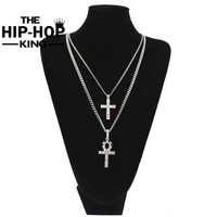 Mens Silver Plated Iced Out Rhinestone Cross Pendant Necklace Set Cross Ankh Key Of Life Jewelry