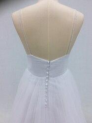 Vestido De Noiva Simple Beach Wedding Dress 2018 A-Line V Neck Spaghetti Straps Sexy Boho Backless White Bride Dress Bridal Gown 5