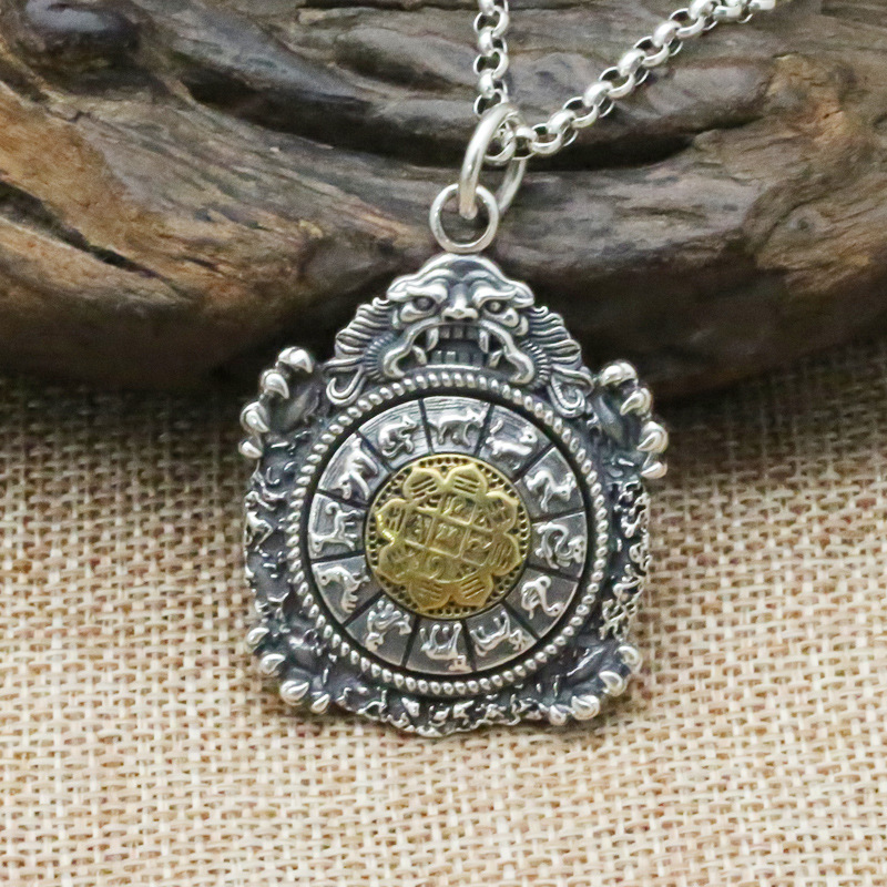 Wholesale S925 Sterling Silver Retro Thai Silver Jewelry Personality Vintage Old Jiugong Gossip 12 Zodiac Men And Women PendantWholesale S925 Sterling Silver Retro Thai Silver Jewelry Personality Vintage Old Jiugong Gossip 12 Zodiac Men And Women Pendant