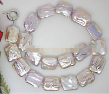 AA 001529 beauty 21mm natural lilac baroque keshi biwa pearl stone handmade necklace(China)