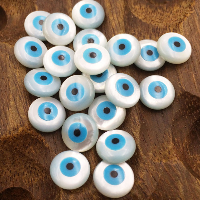 10Pcs/Pack 6/8/10/12mm Evil Eye Natural Shell Beads Accessories Jewelry Findings Pearl Bay Eyes Beads For Charm Jewelry Making