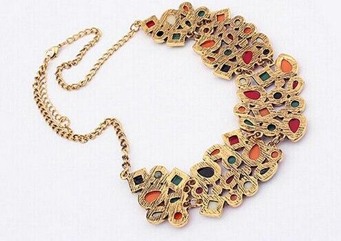 Bohême ethnique collier et pendentif Multi couche perles bijoux Vintage déclaration sautoir femmes à la main acrylique bijoux 3