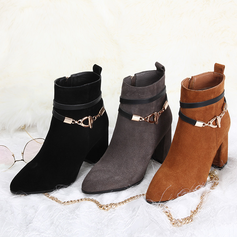 L&T Women Sexy Ankle Boots New Winter Warm Solid Pumps Shoes Suede Square Heels Boot Shoes Woman Plus Size 34-39 W75729 dunlop winter maxx wm01 205 65 r15 t