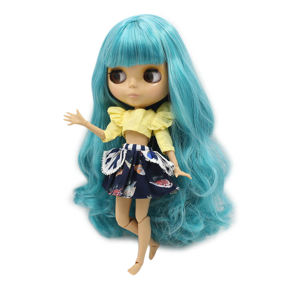 Dolls Blyth Doll Bjd Long Green Aquamarince Mix White Hair With Fringes/bangs Tan Skin Joint Body 1/6 No.280bl4006/4302 Toy Gift Skillful Manufacture Dolls & Stuffed Toys