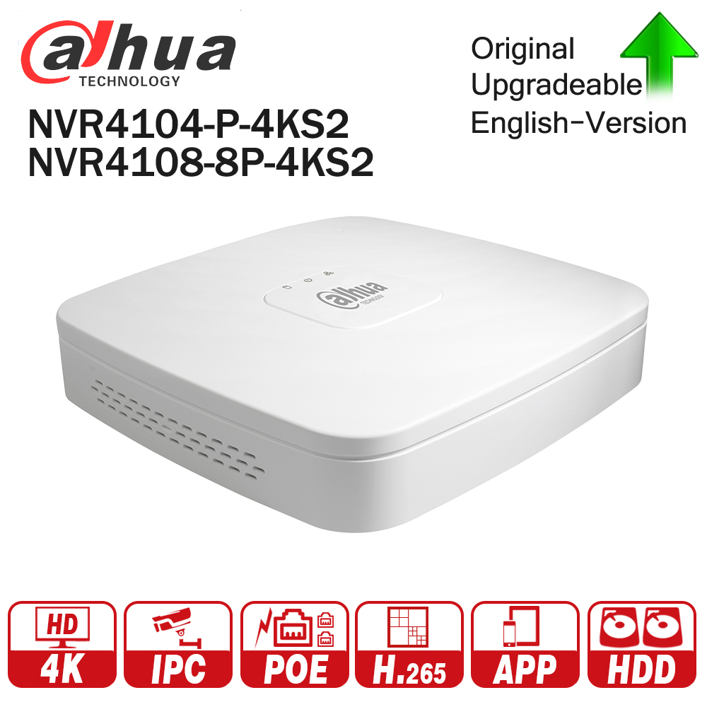 Dahua 4K POE NVR NVR4104-P-4KS2 NVR4108-8P-4KS2 with 4/8ch PoE h.265 Video Recorder Support ONVIF 2.4 SDK CGI White POE NVR dahua 4ch 8ch smart 1u nvr with p2p function dahua mini nvr with 4poe nvr1104 p nvr1108 p