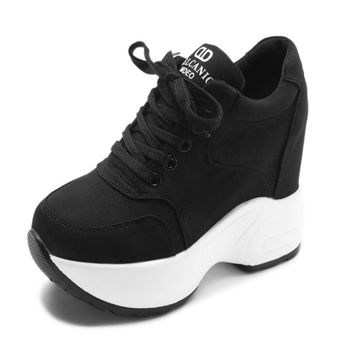 Women Sneakers Mesh Casual Platform Trainers White Shoes 10CM Heels Autumn Wedges Breathable Woman Height Increasing Shoes  7