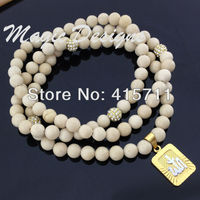 YH AN05 Islam Muslim Necklace Beige Riverstone Fossil Beads 24K Gold Plated Allah Pendant Necklace 24k