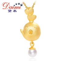 DAIMI 2017 Cock Year New Gold Chicken Pendant 5 6mm Pearl 925 Silver Pendant Necklace Happiness