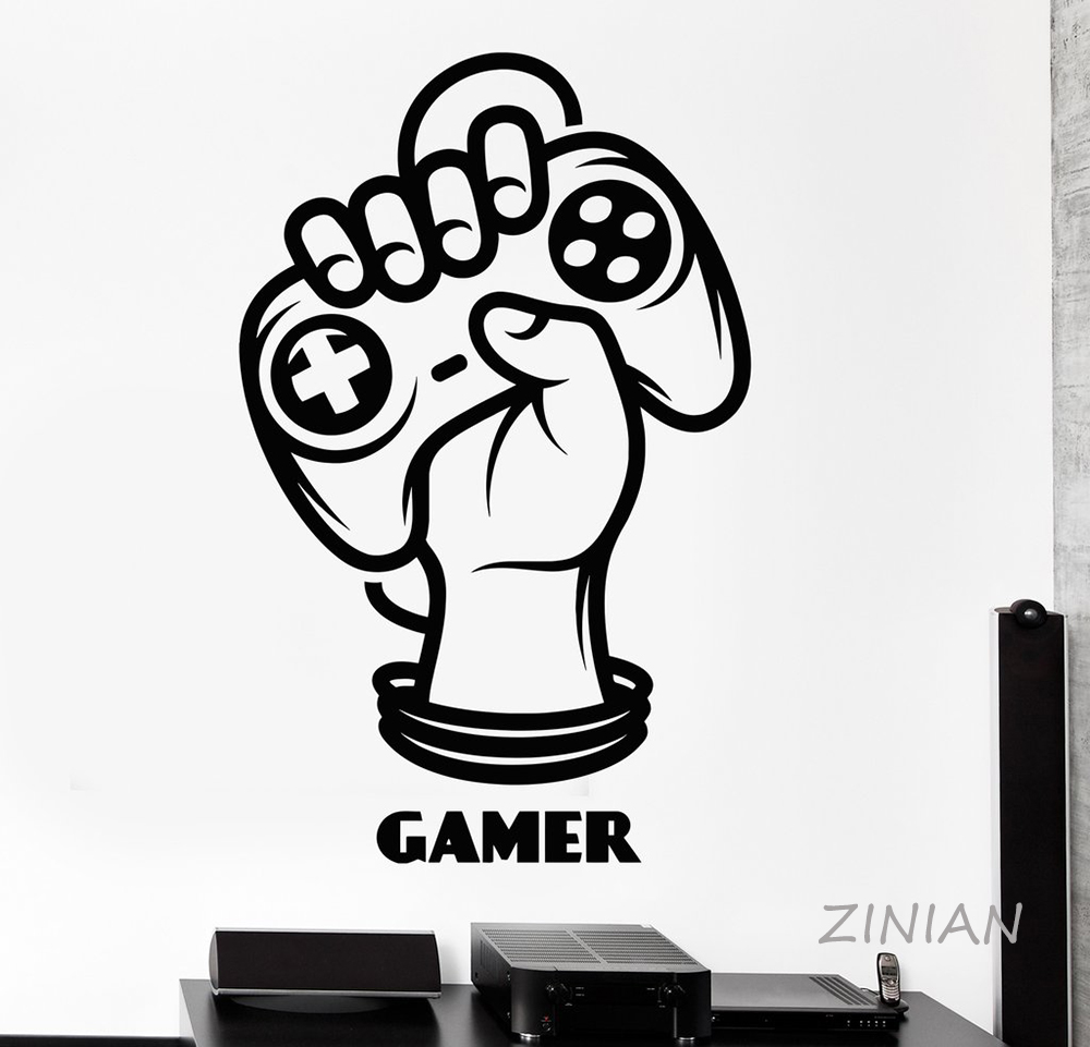 Gamer Hand Joystick Player Wall Decal Game Zone Teenage Room Decor Stickers Removable Vinyl Art Murals Sticker for Boys Z574 ...