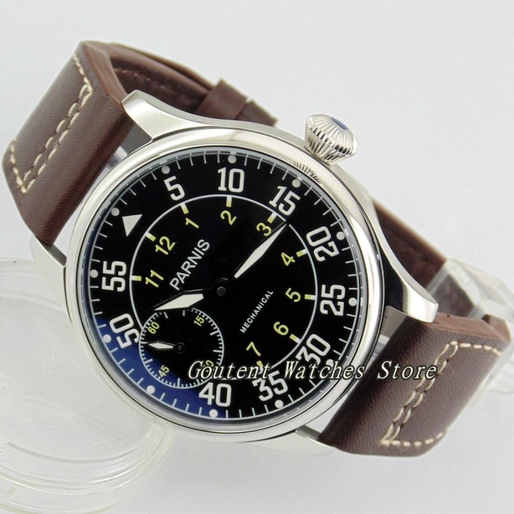 44mm Parnis Black Dial 6497  Seagull st36 Hand Winding Mechanical Men's Watch
