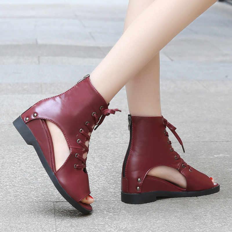 COOTELILI Için Takozlar Sandalet Kadın Platformu Yaz Ayakkabı Kadın Çizmeler Rahat Açık Ayak Sandles Kadın Ayakkabı