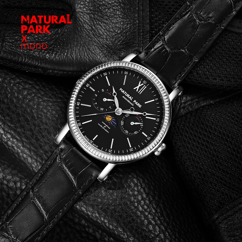 NATURAL PARK Watches Men Luxury Brand Multifunction Quartz Men Sport Watch Moon Phase Dive 30m Casual Watch Relogio Masculino