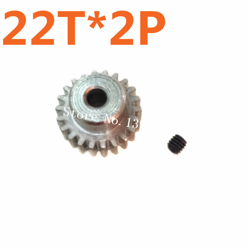 2pcslot 22T 48P Pinion 3.2mm*0.8mm Motor metal gear For TRAXXAS HPI HSP 110 Model  HSP Spare Parts Upgrade  RC Car Al
