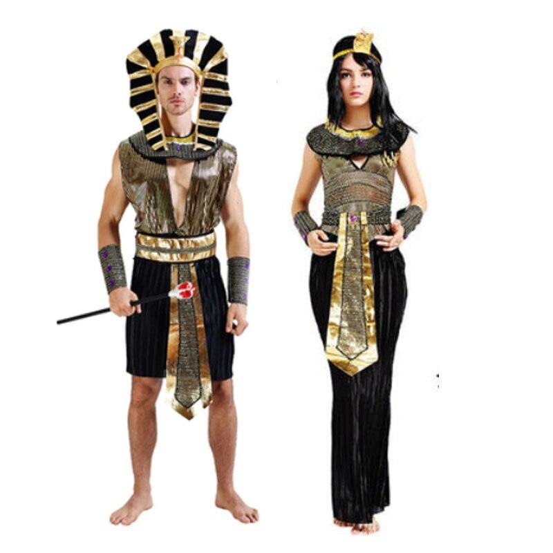2018 Adulte Femmes Homme Roi Reine Egypte Pharaon Cosplay Costume Halloween  Performance Costumes Fête de Famille Fournitures Pourim
