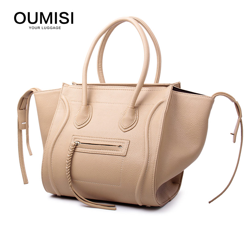 New Famous Designer Brand Luxury Women Leather Handbags Fashion Smile Face Tote Quality Trapeze Smiley Clutches
