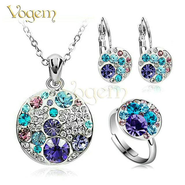 Vogem 2017 platinadas azul cristal conjunto de jóias cadeia anel pingente e brinco set jóias urso acessório jóia turca