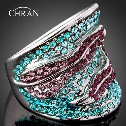 Chran классические посеребренные листьев Дизайн австрийского хрусталя обещал палец Кольца для Для женщин