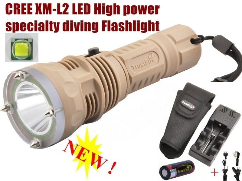 ФОТО TrustFire TR-DF001 CREE XM-L2 LED Diving Flashlight depth 100m LED Diving Torch+1PC 26650 Battery + Charger + holster