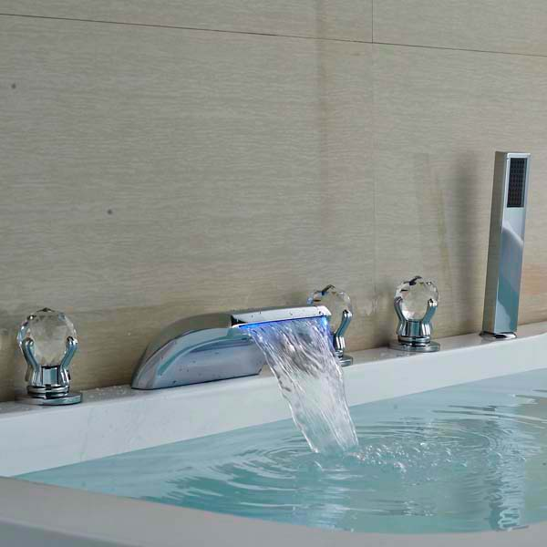 Crystal Handles LED Waterfall Bathroom Basin Faucet Mixer Tap with Hand Sprayer Chrome Brass 24v 1ch rf wireless remote switch wireless light lamp led switch receiver