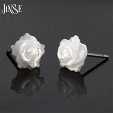 JINSE Natural Shell White Rose Flower 925 Sterling Silver Stud Earrings For Women Girl Sterling-Silver-Jewelry Valentines Day