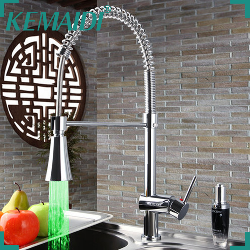 KEMAIDI No Need Batteries LED Light Faucet Swivel Chrome Brass Wash Basin Sink Water Vessel Kitchen Torneira Faucet,Mixer Tap golden brass kitchen faucet dual handles vessel sink mixer tap swivel spout w pure water tap