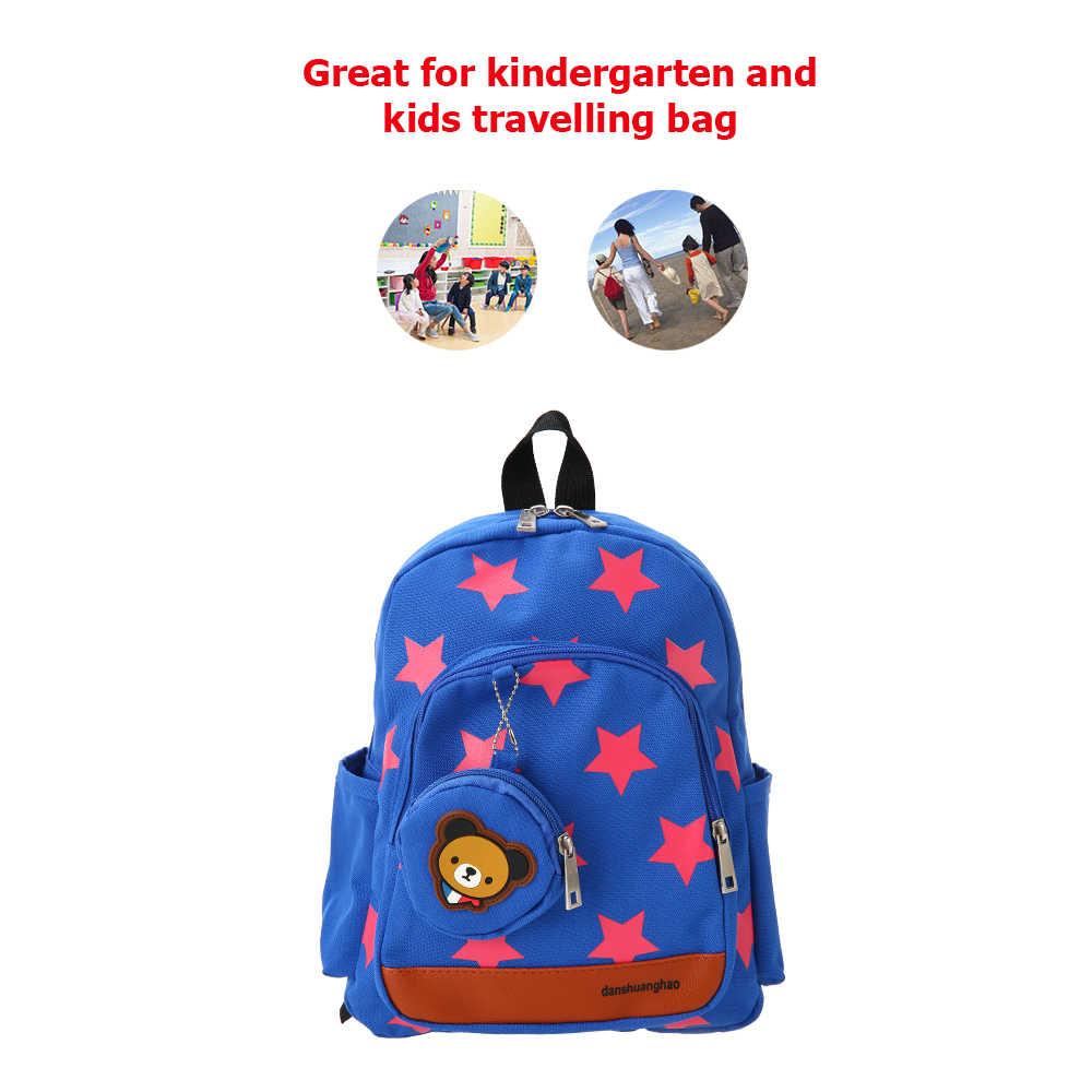 High Quality Backpack Canvas Cute Star Pattern Travel Bag Toys Children Kindergarten Schoolbags with Coin Purse Plush Toys