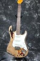 Alta calidad Hecha A Mano RELIC Envejecido Hardware ST Cuerpo de Aliso Guitarra Eléctrica Hecha A Mano puente tremolo Rory Gallagher Firma