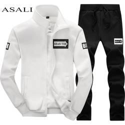 Мужской спортивный костюм из двух предметов, повседневный осенне-весенний костюм из белой кофты на молнии и черных брюк