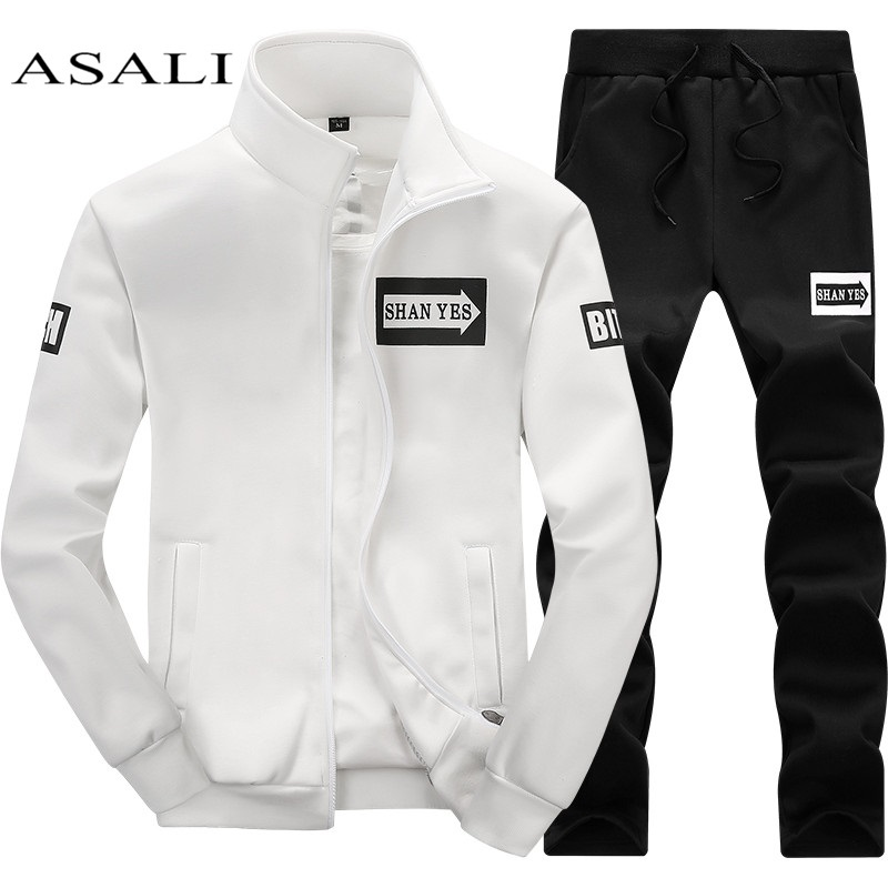 Mens Set 2PC Zipper Autumn Sportswear Casual Tracksuit Male 2019 Sweatshirt Jacket +Pans Suit Hoodies Moleton Masculino Dropship