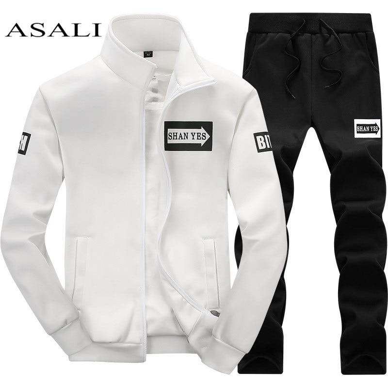 Mens Set 2PC Zipper Autumn Sportswear Casual Tracksuit Male 2020 Sweatshirt Jacket +Pans Suit Hoodies Moleton Masculino Dropship